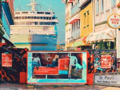 ARW-00133-Hamburg ST.Pauli Herbertstrasse und MS EUROPA abstrakt