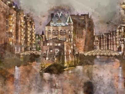 Hamburg Abstrakt - ARW-00022 Wasserschloss am Abend