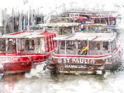 Hamburg Foto ARW-00003 ST. PAULI Barkasse an den Landungsbrücken