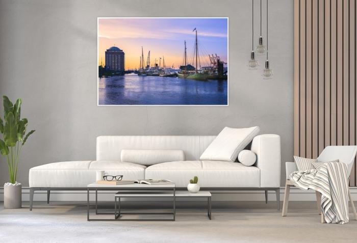 Hamburg Foto - HAF-00020 Museumshafen Övelgoenne im Sonnenaufgang Gestaltungsansicht