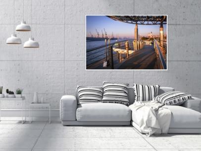 Hamburg Foto - HAF-00027 Landungsbrücken im Sonnenaufgang Gestaltungsansicht