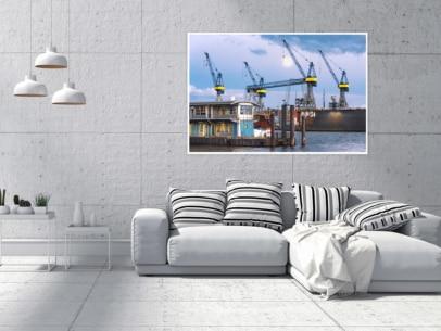 Hamburg Foto - HAF-00028 Vollmond am Hamburger Fischmarkt Gestaltungsansicht