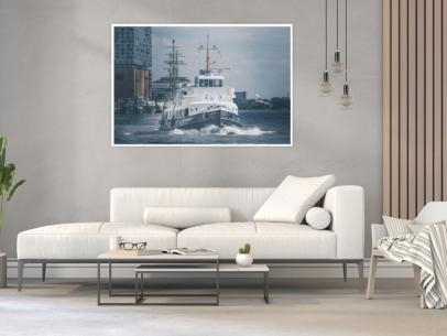 Hamburg Foto - HAF-00029 Fahrgastschiff KIRCHDORF an den Landungsbrücken Gestaltungsansicht