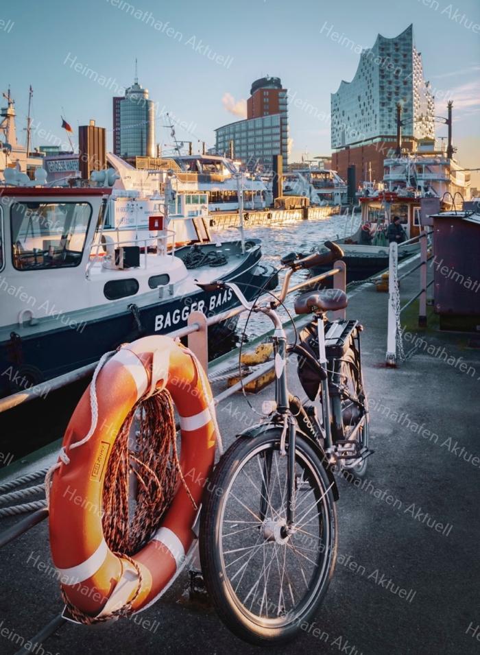 Hamburg Foto - HAF-00031 Fahrrad vor Elbphilharmonie