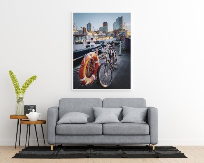 Hamburg Foto - HAF-00031 Fahrrad vor Elbphilharmonie Gesaltungsansicht