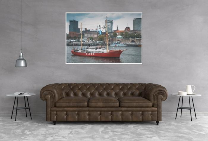 Hamburg Foto - HAF-00062 Feuerschiff ELBE 3 vor den Landungsbrücken Gestaltungsansicht