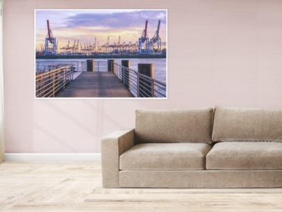 Hamburg Foto - HAF-00064 Hamburger Hafen im Sonnenuntergang Gestaltungsansicht