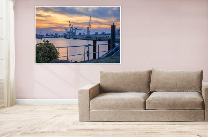 Hamburg Foto - HAF-00065 Hamburger Hafen im Sonnenuntergang Gestaltungsansicht