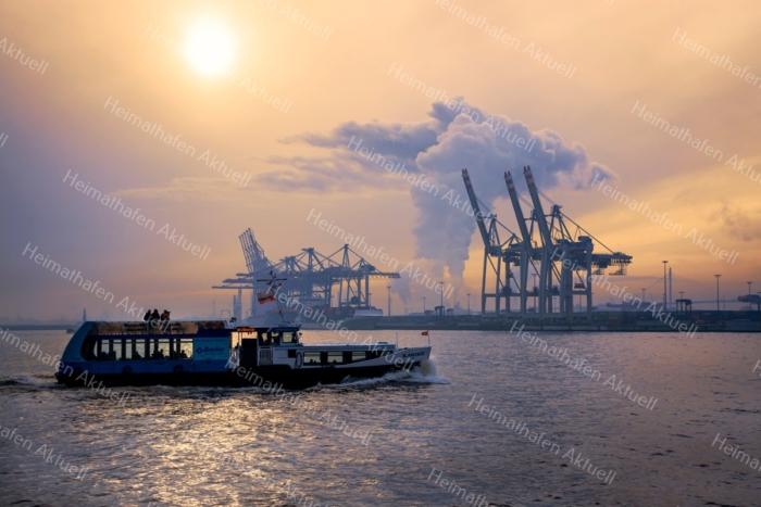 Hamburg Foto - HAF-00067 Hamburger Hafen im Dunst bei Mittagssonne