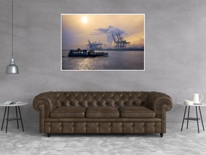 Hamburg Foto - HAF-00067 Hamburger Hafen im Dunst bei Mittagssonne Gestaltungsansicht