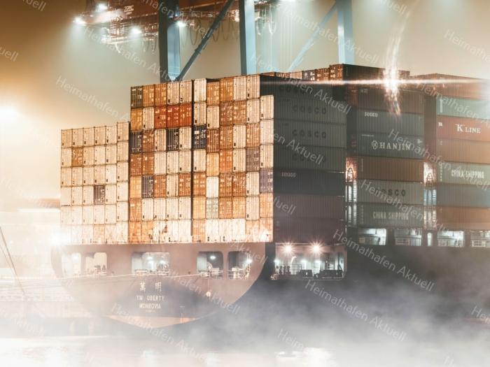 Hamburg Foto - HAF-00068 Hamburger Hafen im Nebel bei Nacht - Containerschiff