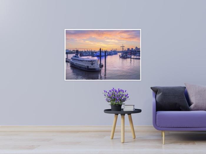 Hamburg Foto - HAF-00069 Hamburger Hafen Kehrwiederspitze im Sonnenuntergang Gestaltungsansicht