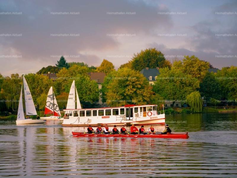 Hamburg Fotos Alster - ALS-00022-Alsterdampfer-Segelboote