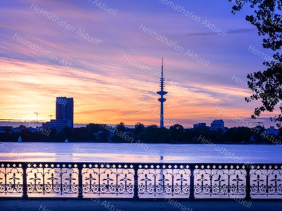 Hamburg Fotos - ALS-00025 Schwanenwikbrücke-Aussenalster-Sonnenuntergang