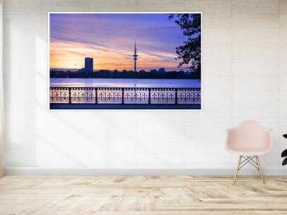 Hamburg Fotos - ALS-00025 Schwanenwikbrücke-Aussenalster-Sonnenuntergang - Gestaltungsansicht