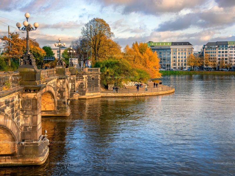 Hamburg Fotos Alster - ALS-00026-Lombardsbrücke-Alster-Herbst