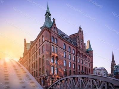Hamburg Fotos und Bilder HAL-00016-Speicherstadt-Sonnenuntergang