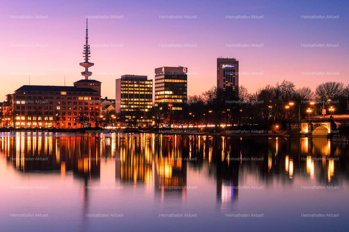 Hamburg Fotos Alster - ALS-00005-Hamburg-Skyline-an-der-Binnenalster