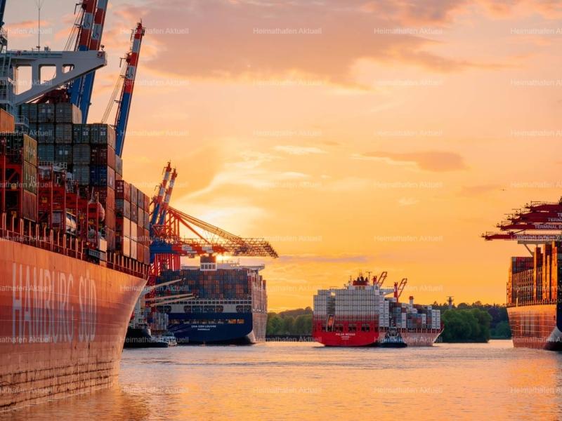 Hamburg Hafenfotos-HAF-00179- Waltershofer Containerhafen im Sonnenuntergang (1)
