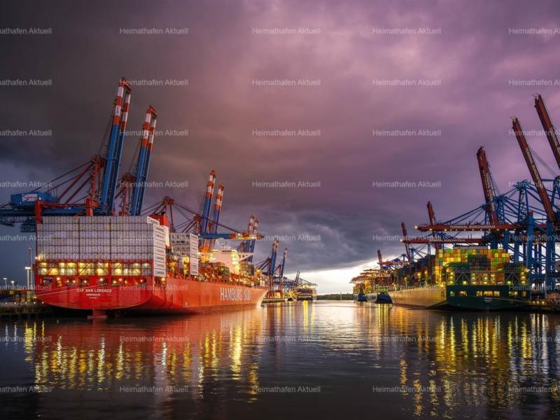Hamburg Hafenfotos-HAF-00183- Waltershofer Containerhafen bei Gewitter