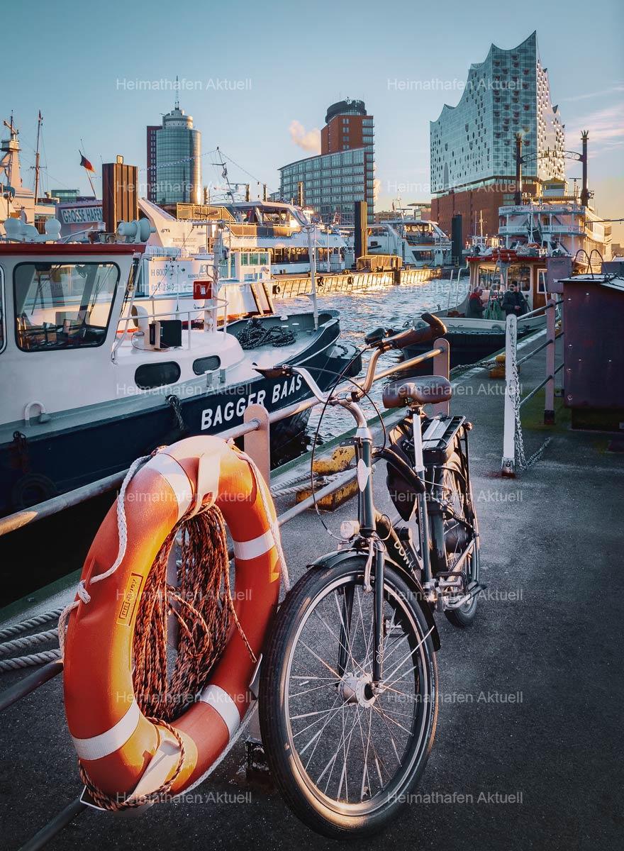 Hamburg-Fotos HAF-00031-Fahrrad vor Elbphilharmonie